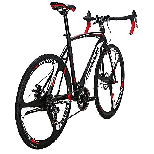 Eurobike Dual Disc Brake XC550 Road Bike 21 Speed Shifting System 54Cm Steel Frame 700C 3-Spoke Wheels Bicycle