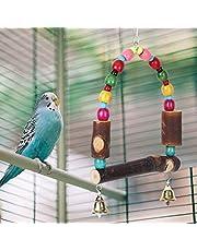 【𝐏𝐚𝐚𝐬-𝐩𝐫𝐨𝐦𝐨𝐭𝐢𝐞𝐦𝐚𝐚𝐧𝐝】Stojak na klatkę dla ptaków z kolorowymi perłami, mocna huśtawka dla ptaków, dzwoneczek, stojak na zabawki, nietoksyczne papuga dla ptaków, zwierząt domowych