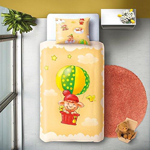 SoulBedroom Ballon 100% Coton Linge de lit pour bébé (Taie d'oreiller et Housse de Couette 100x140 cm)