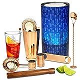 bar@drinkstuff - Set di Regali di Cocktail con Rame Boston Cocktail Shaker Tin e Vetro e B...