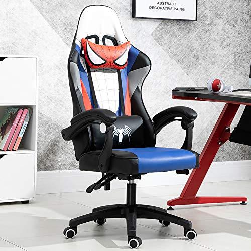 Spiderman Gaming Chair Chaise de bureau, chaise de bureau ergonomique, PC E-Sports Chair Chaise de course de style course pour hommes et femmes avec réglage de la hauteur Support lombaire Appui-tête