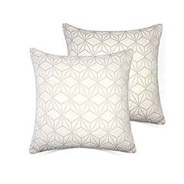 Set of 2 Throw Pillow Covers Coastal Cushions 100% Cotton Home Decorative 18 x 18 inch Soft Pillow Case Covers Invisible Zipper Decorative Pillow Case No Pillow Insert Furniture Cushions 01(White)