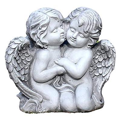 Kissing Couple Garden Sculpture,First Kiss Cherub Angel Pair Statue,Painted Figurine,Indoor Outdoor Decoration,for Porches Garden Home