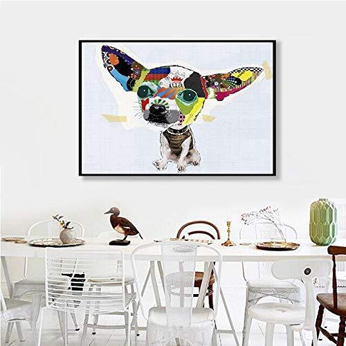 YWOHP Pintura de la Lona del Perro Lindo Abstracto Pintura de la decoración del hogar Mural nórdico Moderno Mural de la Sala de Estar/sin Marco