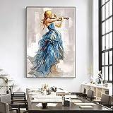 N / A Moderne Wandkunst Leinwand Gemälde Mädchen spielt die Geige Poster und Drucke Ballerina Mädchen Leinwand Kunstdrucke für Wohnzimmer 20x30CM NO Rahmen