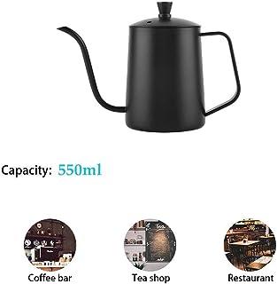 Diyeeni Cafetera de Cuello de Cisne Teteras de Acero Inoxidable de 550 ml, Olla de Café de Cuello de Cisne Largo Pour Over Kettle Hand Drip Tea Pot con Tapa para la Cocina Casera