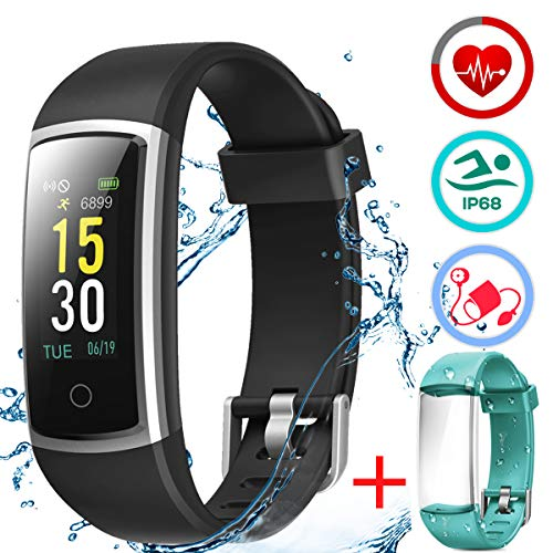 LATEC Fitness Armband mit Pulsmesser, IP68 Wasserdicht Fitness Trackers Laufband Yoga Fitness Tanzen Spinnen Smartwatch Pulsuhren Blutdrucküberwachung Schlafmonitor Schrittzähler