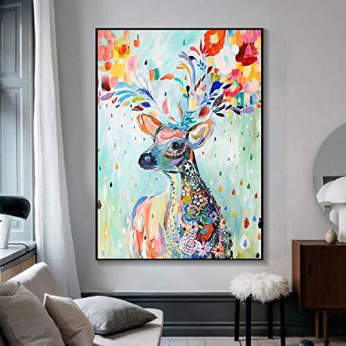 Danjiao Bunte Tiere Leinwand Kunst Wandmalereien Deer Head Inkjet Leinwand Poster Print Abstrakte Wandkunst Bild Wohnzimmer Ungerahmt Wohnzimmer 40x60cm