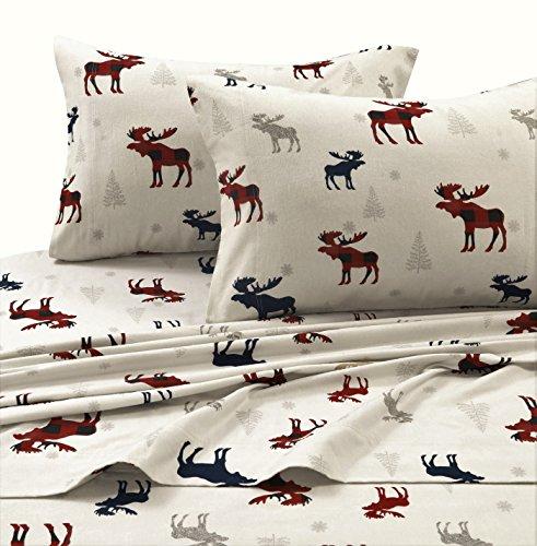 Tribeca Living PLRE170SHEETQU Plaid Moose Printed Flannel