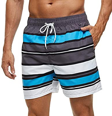 SILKWORLD Men's Swim Shorts Quick Dry Athletic Beach Trunks with Pockets (Pattern / Stripe2, Large)
