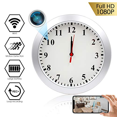 Hidden Camera Wall Clock LMGL HD 1080P WiFi Hidden Security Camera Wireless with Motion Detection, Remote Viewing, Loop Recording Video, 5000mAh Battery Support iOS/Android
