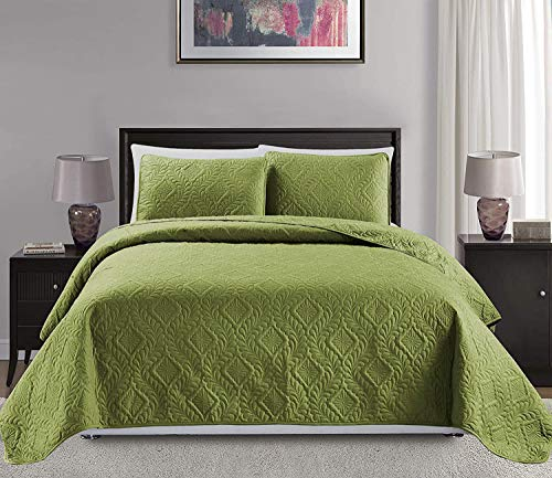 Mk Collection 3pc King/California King Over Size Diamond Bedspread Bed Cover Embossed Solid Sage Green New