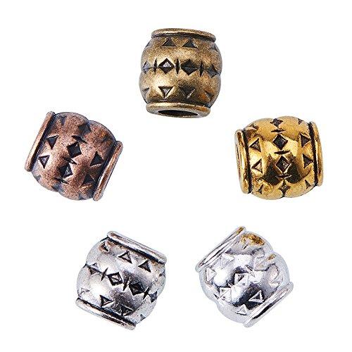 nbeads 100PCS Tibetan Style Barrel großes Loch Europäischen Perlen 8mm, gemischte Farbe, Cadmium- und bleifrei, Loch: 4mm