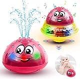 WolinTek Juguetes de Baño para Bebés con Luz y Musical, 2 en 1 Juguete Bañera Rociador de Inducción Automática Juguetes Divertidos,Juguete de Agua, Juguete Sensorial de Rociado de Agua (Rojo)