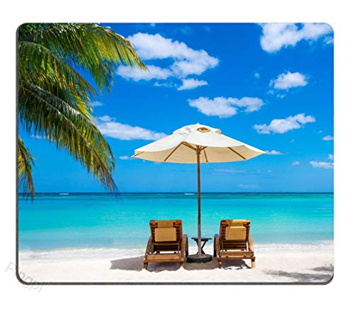 Pingpi Idyllic White Beach in Front of The Turquoise Tropical sea Mouse pad Gaming Mouse pad Mousepad Nonslip Rubber Backing