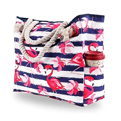 Genovega Borsa da Spiaggia in Tela Grande - Borse in Tessuto da Mare Donna, XXL Shopper Tracolla per Viaggio, Shopping, Beach Tote Bag con Chiusura Fibbia Magnetica, Flamingo Tropicale