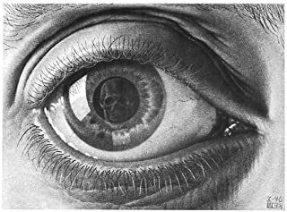 Eye by M. C. Escher Fantasy Poster Print, Overall Size: 21.75x15.75, Image Size: 17x12.75