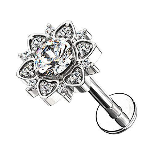 Piersando Ohr-Piercing 316 L Chirurgenstahl mit Kristall Glitzer Stein Tragus Helix Labret Lippe Knorpel Stab Stecker Blume Silber 6mm