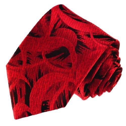 Lorenzo Cana - Krawatte aus 100{5202f1c5c0d21af184d1ba83c21f1c5a12b5cf74713d4fa1efce7748389805a1} Seide rot schwarz, abstraktes Muster, Designkrawatte handgefertigt - 84485