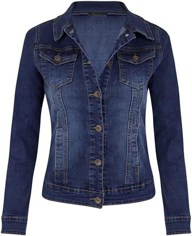 GELTDN Plus Size Short Denim Jackets Women Autumn Wash Long Sleeve Vintage Casual Jean Jacket Bomber Denim Coat Ladies Jacket Outerwear (Color : Dark Blue, Size : S Code)