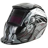 Welding Helmet Solar Powered Auto Darkening Hood with Adjustable Shade Range 4/9-13 for Mig Tig Arc Welder Mask Shield Flaming Skull Design