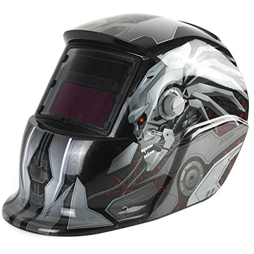 Welding Helmet Solar Powered Auto Darkening Hood with Adjustable Shade Range 4/9-13 for Mig Tig Arc Welder Mask Shield Flaming Skull Design