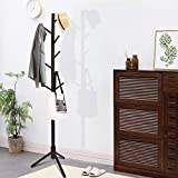 Clewiltess Wooden Tree 8 Hooks Coat Rack Stand, Hallway/Entryway Coat Hanger Stand for Clothes, Suits, Accessories,Super Easy Assembly (Dark Brown)