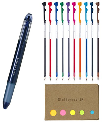 Pilot Hi-tec-c Coleto 5 Color Multi Pen Body Component, Navy, Rubber Grip, 0.4mm 10 Color Ink Refills, Sticky Notes Value Set