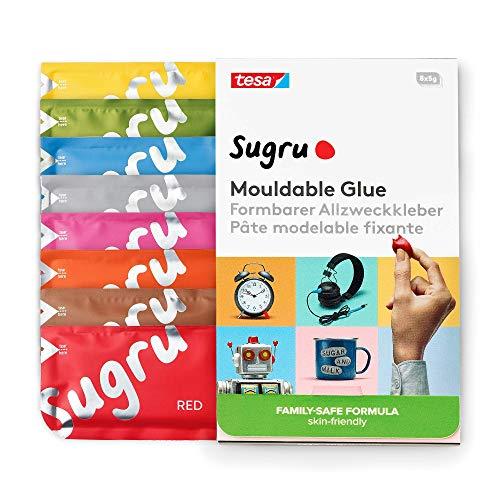 tesa Sugru formbarer Allzweckkleber - Familien-Formel - besonders hautfreundlich - bis 2kg belastbar - Farbmix (8er-Pack)