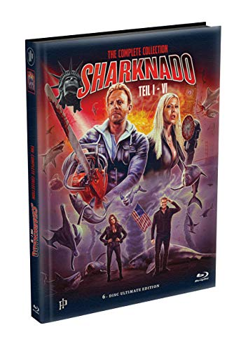 SHARKNADO 1-6 - 6-Disc wattiertes Mediabook Cover A [6 Blu-ray] Limited 500 Edition - Uncut