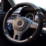 Pahajim Car Steering Wheel Cover Couvre Volant Cuir Housse de Volant de Voiture en Soie glacée Respirante antidérapante Durable Summer Universelle(Noir)
