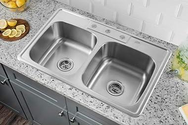 "Kitchen Sink Stainless Steel Drop In Top Mount 33"" x 22"", 4 hole (33 inch Drop-in Topmount 50/50 Double Bowl)"