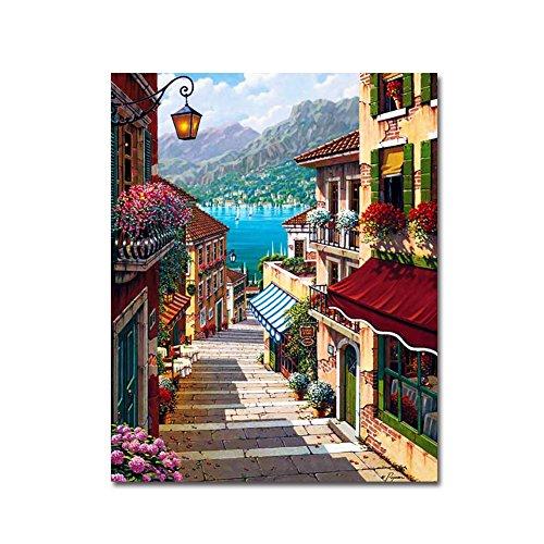 BOSHUN Pintar por Numeros para Adultos Niños Pintura por Números con Pinceles y Pinturas Decoraciones para el Hogar Harbour Town (16*20 Pulgadas, Sin Marco)