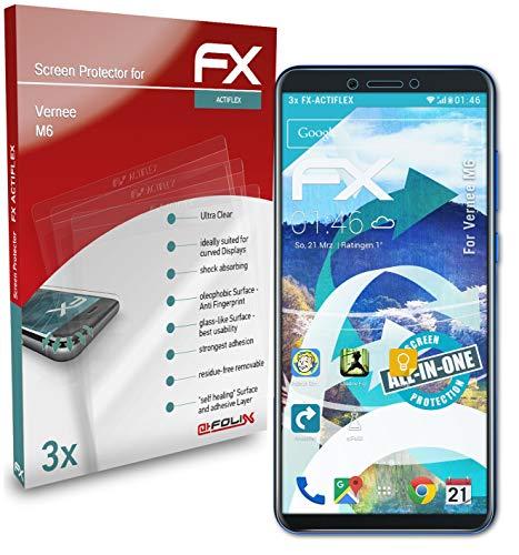 atFolix Schutzfolie kompatibel mit Vernee M6 Folie, ultraklare & Flexible FX Bildschirmschutzfolie (3X)