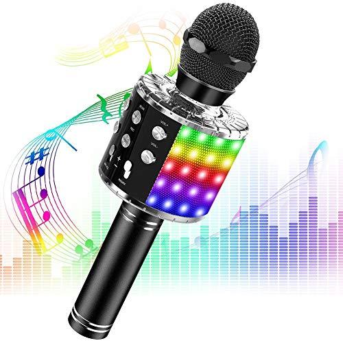 Phiraggit Micrófono Karaoke Bluetooth, Microfono Inalámbrico Karaoke Portátil con Altavoz y LED para Niños Canta Partido Musica, Compatible con Android/iOS PC, AUX o Teléfono Inteligente (Negro)