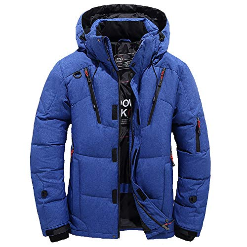 Goose Down Jacket Men Waterproof.Men Boys Casual Warm Hooded Winter Zipper Coat Outwear Jacket Top Blouse Blue