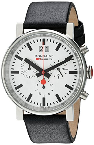SBB Chronograph Wrist Watch Unisex () Swiss Made, Black Leather Strap, Silver Stainless Steel Case, White Face and Black Markers - MONDAINE A690.30304.11SBB