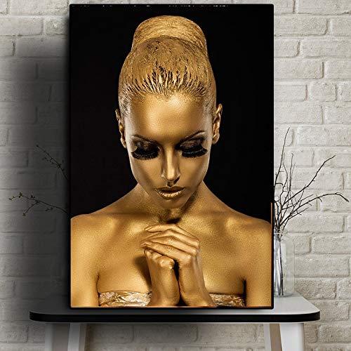 Sanzangtang Zwarte gouden Afrikaanse kunstvrouw olieverfschilderij poster en afdrukken voor de woonkamer afbeelding muurschildering