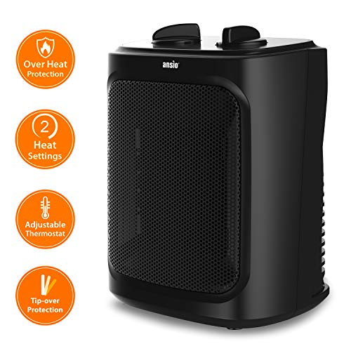 ANSIO Heater Ceramic 2000W Mini Electric PTC Fan Heater with 2 Heat Settings, Thermostat and Safety Cut-Off - 2 Year Warranty - Black *** Promotional Price ***