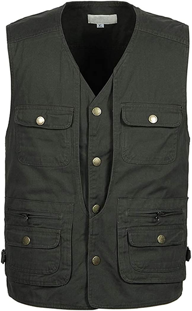 Hixiaohe Men's Multi-Pockets Vest Outdoor Lightweight Safari Fishing Gilet