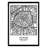 Nacnic Druck Stadtplan Paris skandinavischer Stil in Schwarz und Weiß. A3 Größe Plakat Das Bedruckte Papier Keine 250 gr. Gemälde, Drucke und Poster für Wohnzimmer und Schlafzimmer