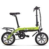 RICH BIT Bicicleta eléctrica Plegable, batería de Iones de Litio de 250W 36V * 10.2Ah, RT-618 Bicicleta eléctrica de Ciudad Plegable de 14 Pulgadas para Adultos (Verde)
