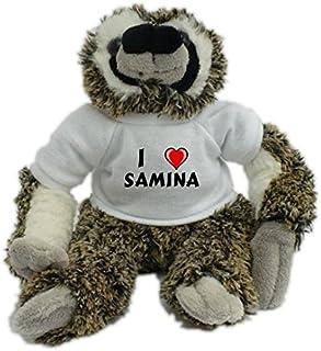 Peluches nombre de pila/apellido/apodo Oveja blanco de peluche con Amo Tiger en la camiseta