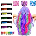 Hair Chalks for Girls, 6 Bright Temporary Washable Hair Color Combs with 3 Glitter, Hair Chalk Dyeing for Birthday Cosplay Halloween Party, Non-Toxic, Safe for Kids & Teens