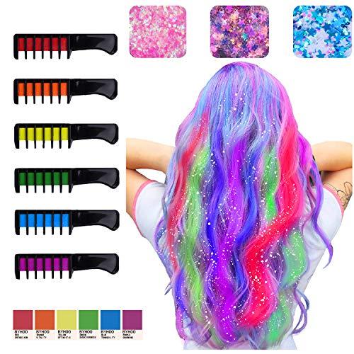 Craies pour cheveux pour filles 6 peignes de couleur de cheveux lavables temporaires brillants avec 3 paillettes, anniversaire Party Hair Dye non toxique sans danger pour les enfants & les adolescents