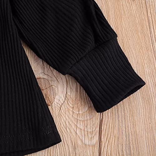 Verve Jelly Suéter de punto de manga larga para bebés y niñas pequeñas Tops + Botón Mini vestido de lápiz Falda 2 piezas Conjunto de trajes de otoño invierno Negro 110 3-4 años
