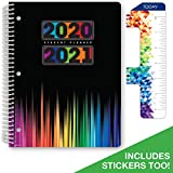 Dated Middle School or High School Student Planner for Academic Year 2020-2021 (Matrix Style - 8.5'x11' - Color Bars Cover) - Bonus Ruler/Bookmark and Planning Stickers
