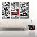 XIANDAI Pintura en Lienzo, póster en Blanco y Negro, autobús Rojo, Londres, Inglaterra, imágenes artísticas de Pared para la decoración del hogar de la Sala de estar-40x80cmx3 sin Marco