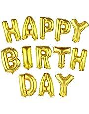 """بالونات مقاس  16 انش بتصميم حروف ابجدية بلون ذهبي لعبارة """"Happy Birthday"""" لتزيين حفلات عيد الميلاد، مصنوعة من رقائق الالومنيوم والقصدير"""