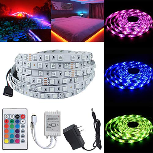 5m RGB LED Strip Set Lichterkette LED Streifen Selbstklebend Led Band Leiste Lichtband 12V für Deko Party Home TV Lichter